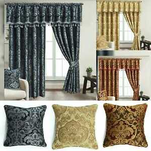 Fully Lined Ready-made Pencil Pleat Jacquard/Chenille Georgia Curtains Pairs
