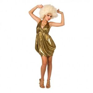 Ladies Disco Lady Costume incudes Wig Fancy Dress Dancing Queen 70's size 6-8