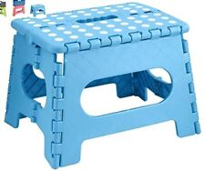 Multi Purpose Small Step Stool Plastic Home Kitchen Foldable Easy Storage Blue