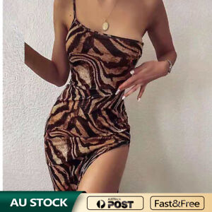 Women Sexy Tiger Print Spaghetti Strap Body cone High Hip Split Club Party Dress