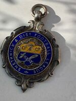 Antique Sterling Silver 925 Albert Chains Watch Fob Medal Football Enamel