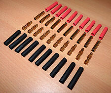 10 Paar 4mm Goldstecker Schrumpfschlauch Stecker Goldkontaktstecker 10x 4 mm