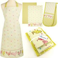 Farmhouse Chicken Kitchen Textile Set - Apron Oven Glove 2 Tea Towels - Gift Set