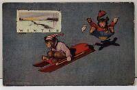 Winter Bears in Sweaters Sledding by St John 1906 Teddy Bear Fantasy Postcard E4
