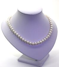 9mm Freshwater Pearl Necklace On Fine Japanese Silk With Sterling Silver Clasp