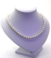 9mm Collana di perle d'acqua dolce in bella Giapponese di seta con fibbia in argento sterling