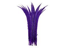 "Pheasant Feathers 5 Pieces 30-35"" Purple Zebra Pheasant Tail Feathers"
