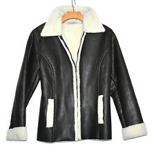 St Johns Bay Dark Brown Faux Leather with Fleece Lining Womens Jacket Sz S