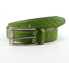 Gucci Lime Green Microguccissima Leather Rectangle Buckle Belt 281798 3504