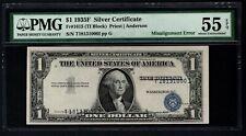 1935F $1 Error Misalignment Overprints Misaligned Pmg 55 Epq Fr.1615