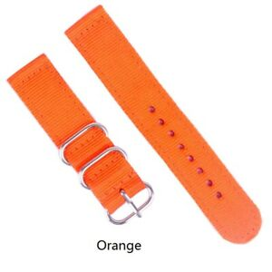 Two-Pieces Strap 18 20mm 22 24mm Width Nylon Military Sport Stripe Watch Band