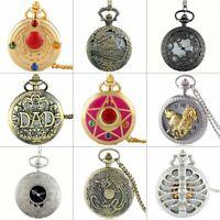 Vintage Steampunk Pocket Watch Luxury Quartz Antique Pendant Necklace Retro Gift
