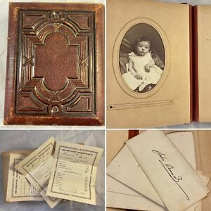 Antique 1800's Leather Photo Album 6x7 Tin Report Cards Baptism Family Napa CA