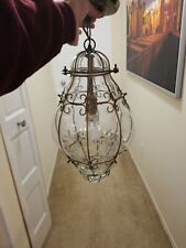 "17"" Antique Caged Bubble Glass Globe HANGING Pendant LAMP LIGHT 12' Chain"