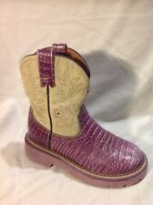 Girls ARIAT Purple Leather Boots Size 12.5