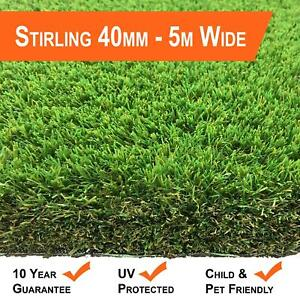 STIRLING 40MM -5M WIDTH - ARTIFICIAL GRASS GARDEN LAWN QUALITY REALISTIC GRASS