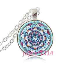 Om Pendant , Lotus Flower Necklace , Namaste Yoga Jewelry , Tibetan silver#1129