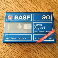 BASF FERRO Super I-90. BLUE (1) SEALED BLANK AUDIO CASSETTE TAPE. NEW RARE '1988
