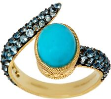 JUDITH RIPKA 14K CLAD STERLING TURQUOISE & BLUE TOPAZ RING SIZE 5 QVC $274.00