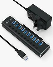 Powered USB 3.0 Hub RSHTECH 10 Port USB 3.0 Data Hub Aluminum Portable Splitter