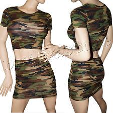 SeXy Camouflage 2er Set Rock + Shirt Stretch Army Militär Tarn Clubwear 32 34 36