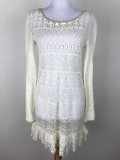 Free People Dress Size Medium Cream Beige Crochet Sweater Knit Lace Boho Sheer