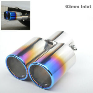 63mm Inlet Car Exhaust Pipe Tip Muffler Stainless Steel Dual Outlet Toasted Blue