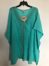 Jessica Taylor Womens Cap Sleeve Crotchet Cover Up Top Green one size NWT