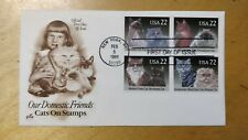 1988 United States of America USA Our Domestic Friends Cats Stamp FDC  Kucing