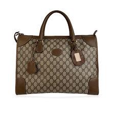 Authentic Gucci Vintage Tan Monogram Satchel Tote Top Handles Bag