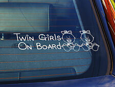Static Cling Window Car Sign/Decal Twin Girls On Board 100mm x 250mm 29