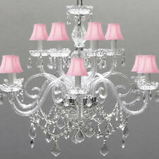 LIGHTING ALL CRYSTAL CHANDELIER WITH PINK SHADES!