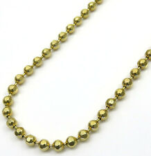 "30"" 2.8mm 10k Yellow Gold Combat Bead Ball Hexagon Cut Chain Necklace Mens"