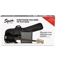 Fender Squier Affinity Precision PJ Bass Guitar w/ Fender Rumble 15 Amp - Black