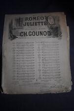 ~1865 *FIRST* Contralto & Bass with Piano, Romeo et Juliette Gounod Sheet Music