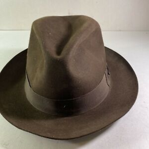 Borsalino ALESSANDRIA Rain Proof Line Fur Felt Fedora Hat 7 3/8