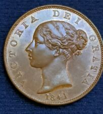 More details for 1841 victoria halfpenny 1/2d copper coin. high grade with lustre hp8411