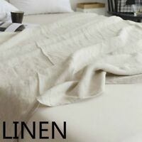 100% Pure Linen Bed Sheet Cover Bedsheet French Flax Organic Natural Plain White
