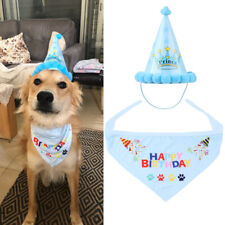 Pet Dog Cat Happy Birthday Hat Headwear Bandana Cute Neckerchief Ties Party