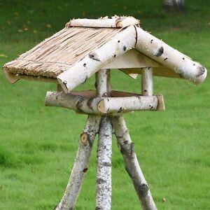 Vogelhaus mit Ständer 127cm Reetdach Birkenholz Vogelfutterhaus Futterhaus Vogel
