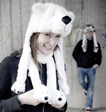 Eisbär Mütze Winter Geschenk Weihnachten Tiermütze Polar Kuschelmütze Unisex NEU