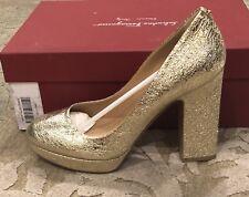 $795 New Salvatore Ferragamo Gold Womens Heels Ladies Shoes Size 8 C US 38