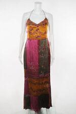 BADGLEY MISCHKA Purple Orange Beaded Sequins Spaghetti Strap Silk Gown Dress