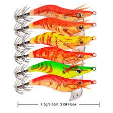 6pack Plastic EGI Squid Jigs Hard Sinking Shrimp Duel Fishing Lure Swimbait box