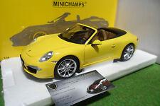 PORSCHE 911 CARRERA S 991 jaune 2011 cabriolet 1/18 MINICHAMPS 100061031 voiture