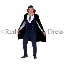 ADULT VAMPIRE DRACULA CAPE BLACK WITH RED COLLAR FANCY DRESS HALLOWEEN COSTUME