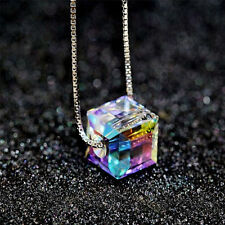 Fashion Charm Women Magic Cube Crystal Chain Necklace Pendant Gift  Jewelry