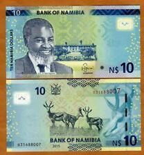 Namibia, 10 dollars, 2015, P-16, no OVI, UNC > Antelopes