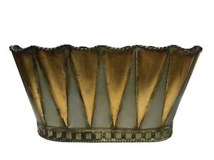 Preowned Gold & Gray Oval Tin Metal Basket