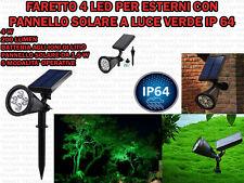 FARETTO 4 LED GIARDINO PARETE PANNELLO SOLARE SENSORE CREPUSCOLARE LUCE VERDE